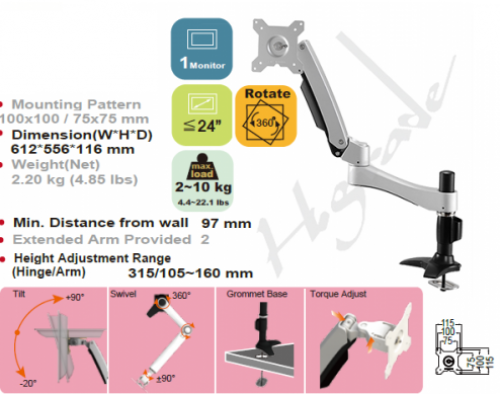 Cantilever Spring Arm Ergonomic 24 inch Adjustable Monitor LCD desk / table stand