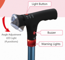 Walking Stick with Flash Light and Alarm Handle