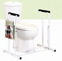 Adjustable Toilet Support Rail with Magazine Rack
