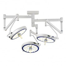 (LED) COOLED SURGICAL LIGHT - SLK SERIES (Ceiling-Mounted Type) Triple Cupola, Modern Arm