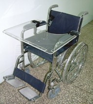 Acrylic Table attached on Wheel Chair
