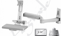 Sit-Stand Sliver-White Spring Arm Wall Mount Computer Workstation System