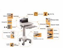 Hospital HealthCare Mobile Trolley Cart for laptop / computer mobile workstation cart