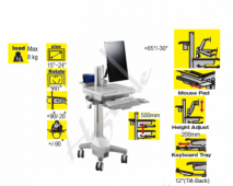 Mobile Trolley Cart for HealthCare IT - Single Monitor with Interactive Arm