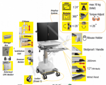 Mobile Trolley Cart for HealthCare IT - Dual Monitor, SLA Powered