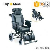 TOPMEDI Rehabilitation Therapy Supplies High Back Reclining Wheelchair for elderly