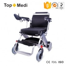 TopMedi Portable Lightweight Foldable Frame Mini Electric Power Wheelchair of Outdoor use for handicapp
