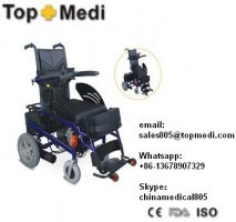 Topmedi rehabilitation therapy supplies Aluminum Frame Standing Up Seat Lifting Power Electric Wheelchair with Safety Belt