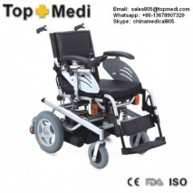 Topmedi Rehabilitation therapy supplies Hard Cushion Adjustable Backrest Power Wheelchair with Safety Lamps