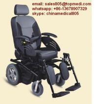 Topmedi Rehabilitation therapy supplies Aluminum Frame Hard Comfortable Cushion Reclining High Back Power Electric Wheelchair